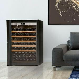 Transtherm Prestige Loft Vintage: Black Glass w/ 5 Shelves – 92 Bottle